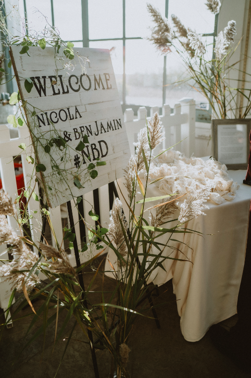 Wedding welcome sign with dried pampas grass