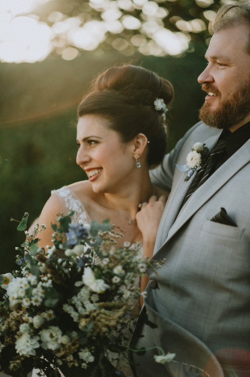 Candid portrait of bride and groom at hudson valley wedding