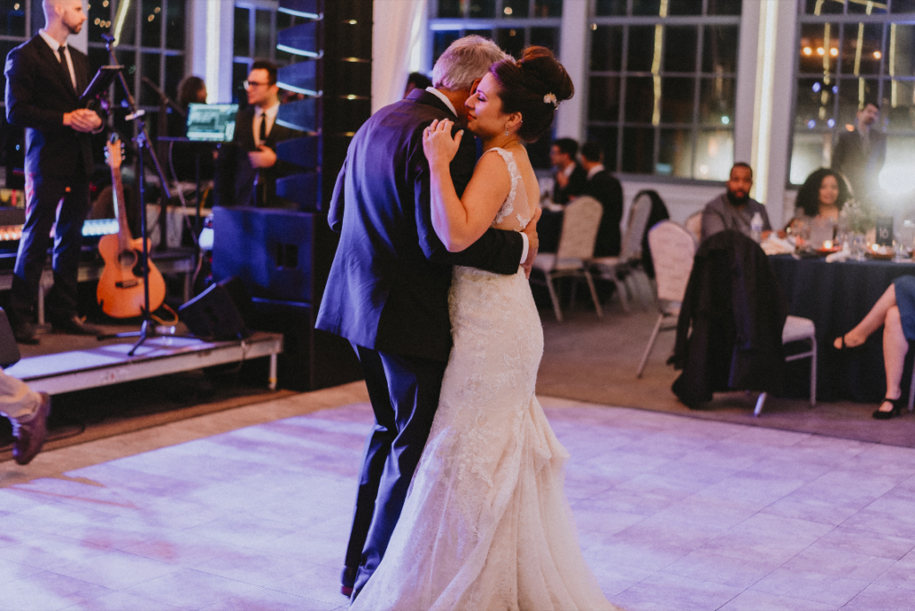 Bride and dad's first dance at hudson valley wedding