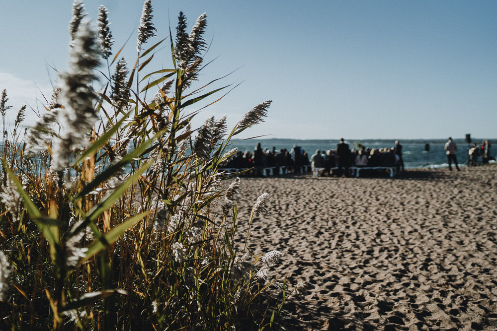 Guests at beach wedding ceremony in long island