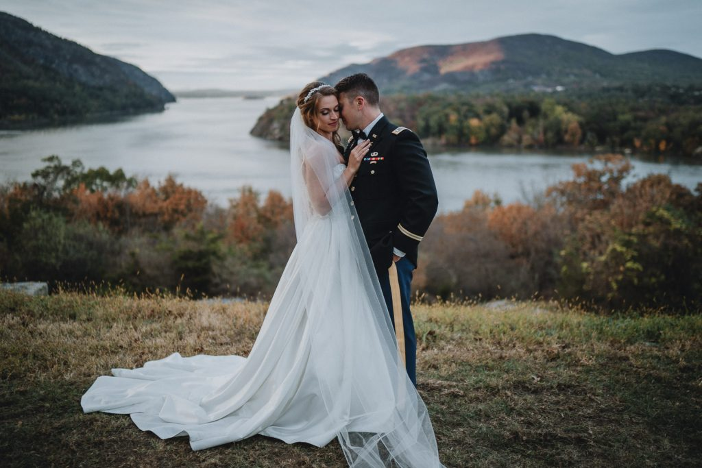 Bride and groom at west point Fall wedding in the hudson valley