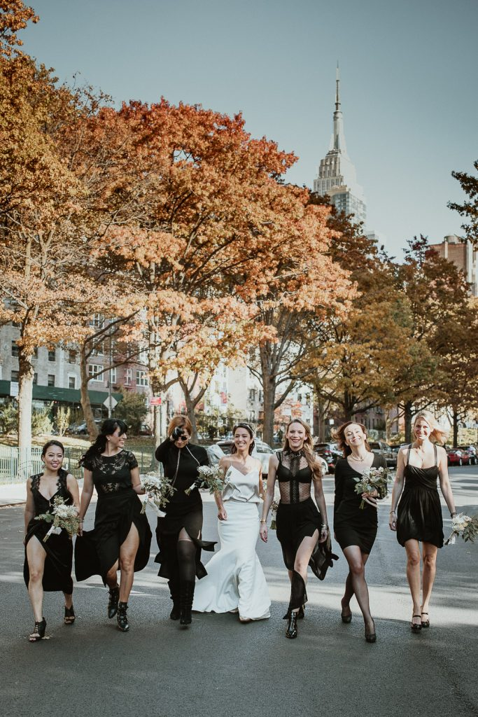 Badass bride and bridesmaids in streets of nyc before fall wedding