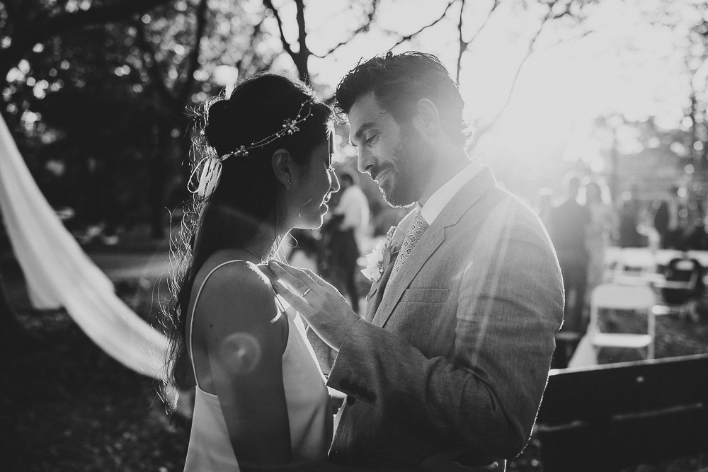 Bride and groom's golden hour portrait at fall brooklyn wedding