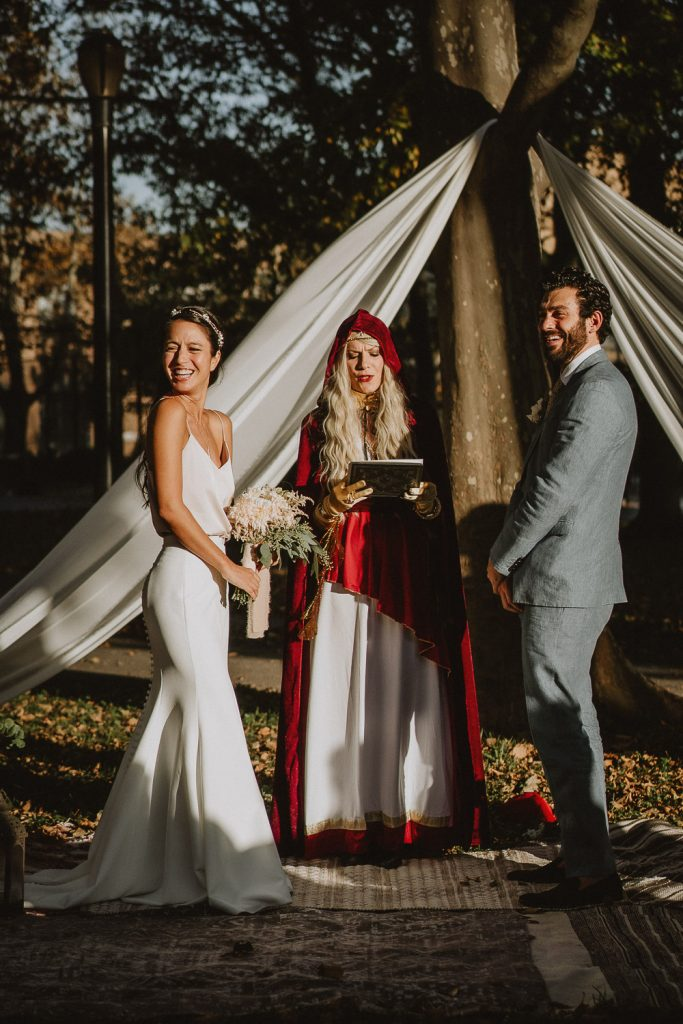 Bride and groom at fall brooklyn park wedding ceremony
