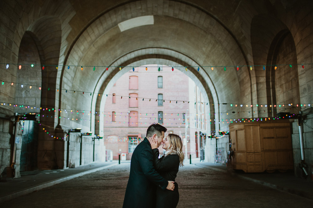 Couple during engagement photoshoot in dumbo brooklyn