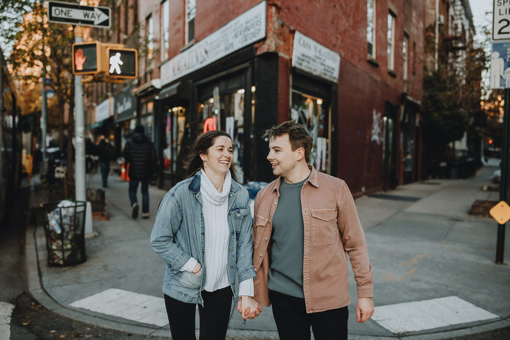 Couple during engagement shoot in the west village of nyc