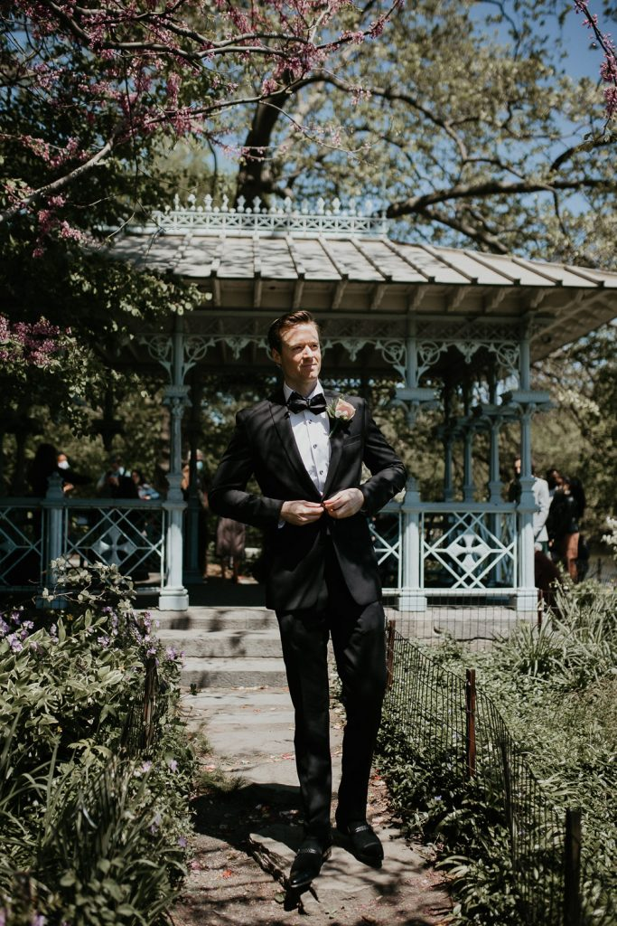 Groom portrait at nyc wedding in central park