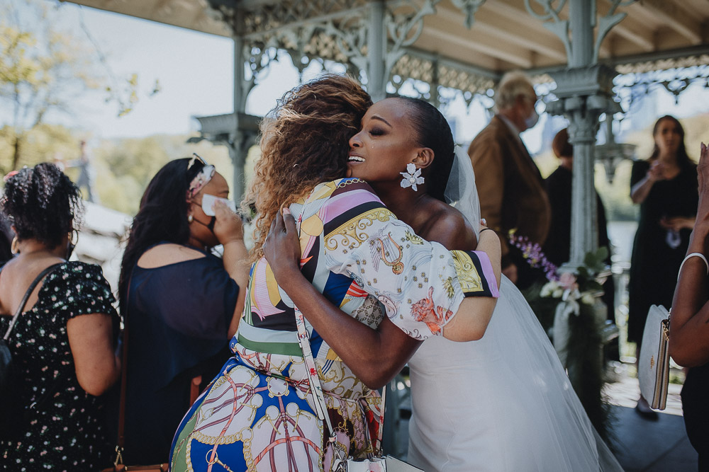 Bride cries after wedding ceremony in central park