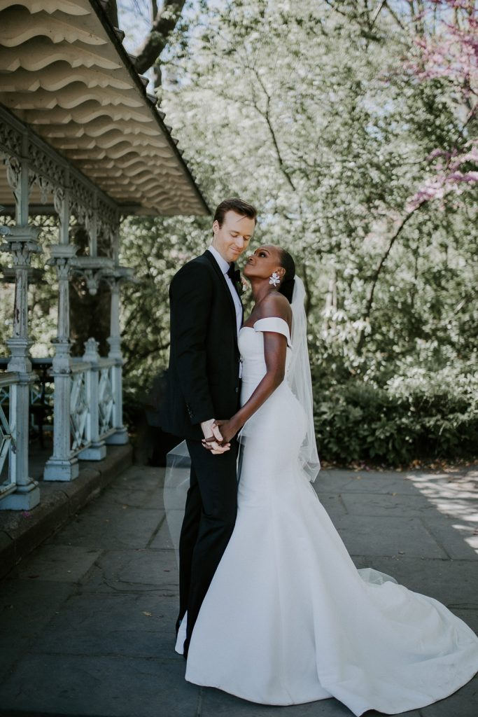 Bride and groom portrait at central park wedding in nyc
