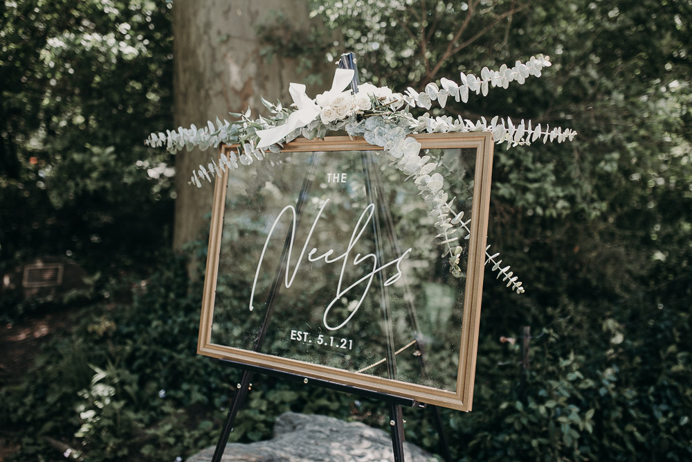 Wedding sign at nyc ceremony in central park