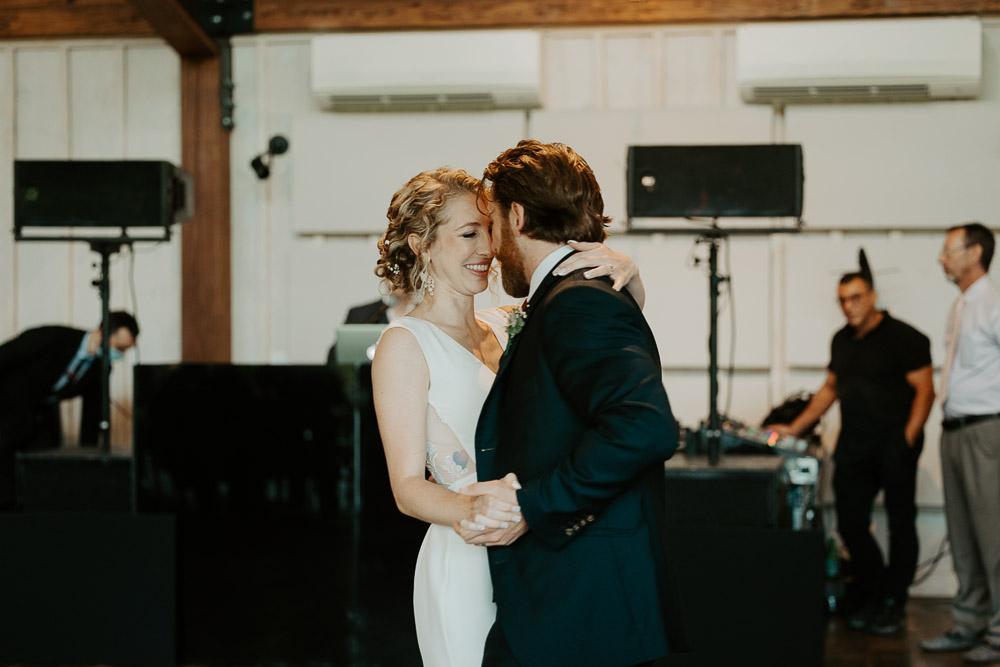 Bride and groom's first dance at red maple vineyard wedding