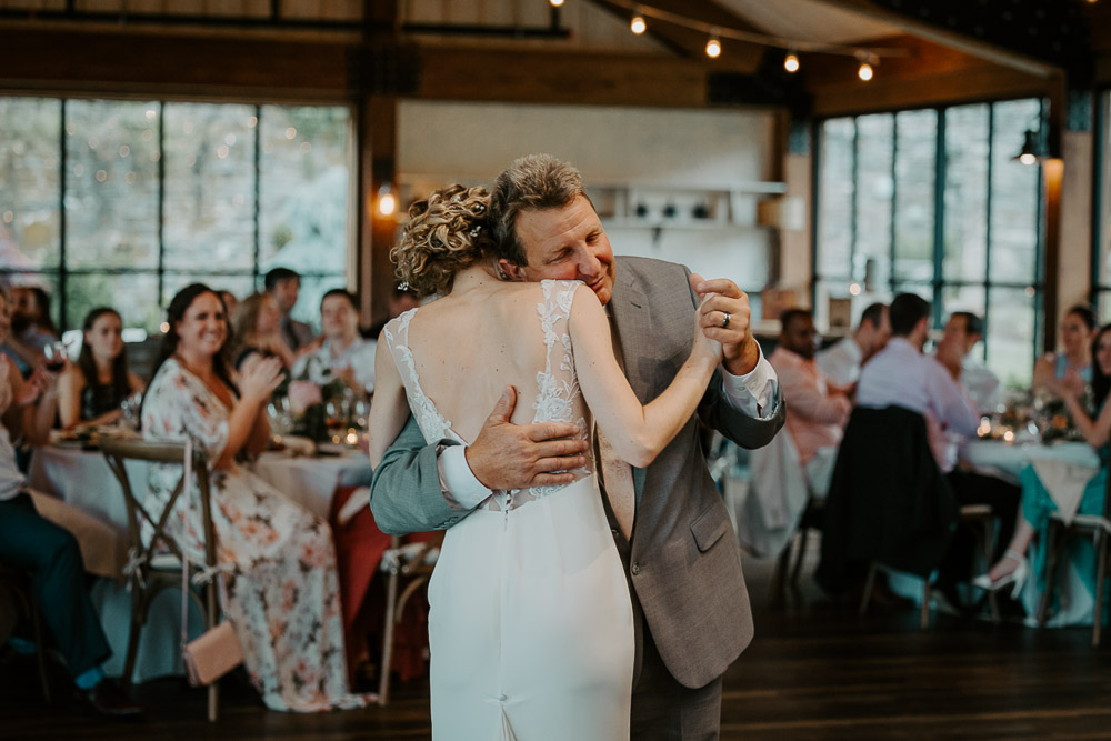 Bride and dad's dance at red maple vineyard wedding