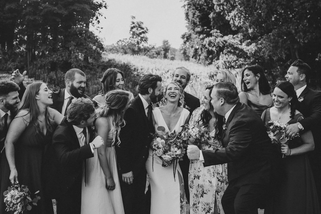 Bridal party at red maple vineyard wedding in hudson valley