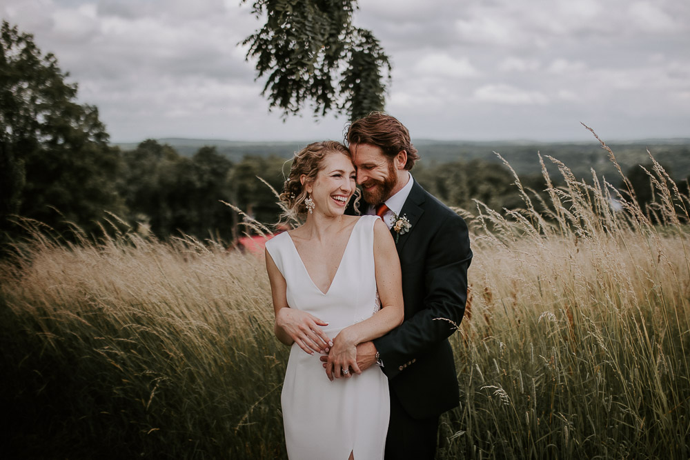 Bride and groom at red maple vineyard wedding in hudson valley