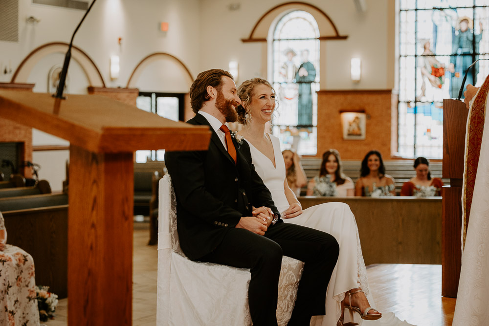 Bride and groom at hudson valley wedding ceremony